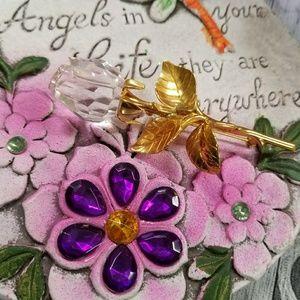 Gorgeous VTG Crystal Rose Brooch